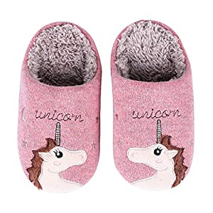 Girl's Cute Unicorn House Slippers Memory Foam Indoor Slippers Comfy Fuzzy Knitted Slip On Cotton Slippers with Anti-Slip Rubber Sole