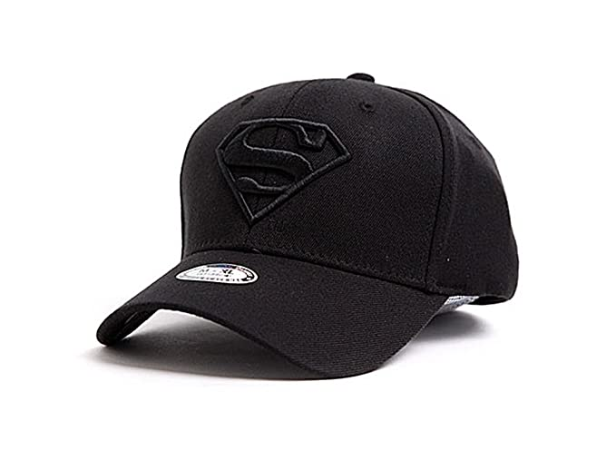 myglory77mall Superman Shield Embroider Baseball Cap Spandex Fitted Trucker  Hat All Black S 7496d241f4a5