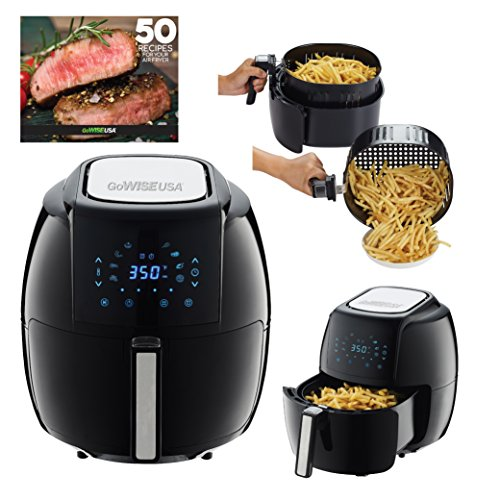 GoWISE USA 5.8-Quarts 8-in-1 Electric Air Fryer XL + 50 Recipes for your Air Fryer Book (Black) (Electric Cook Fry Pan)
