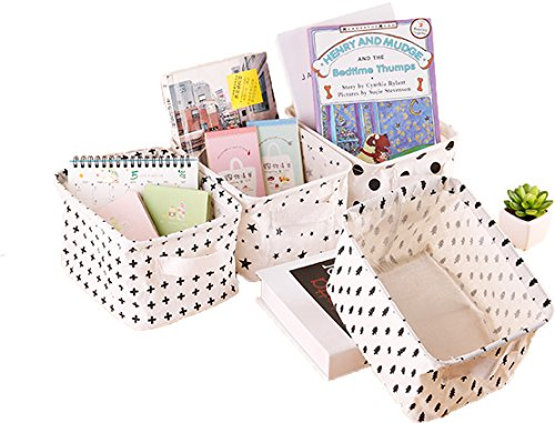 Lannu Pack 4 Canvas Storage Bins Basket Organizers Foldable Fabric Cotton Linen Blend Storage baskets Bin for Makeup, Book, Baby Toy,Small