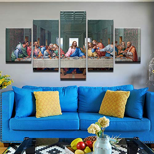 (HIOJDWA Paintings Modular Pictures Hd Printed Canvas Jesus Painting Wall Art Frame 5 Pieces Last Supper Landscape Poster Living Room Decor)