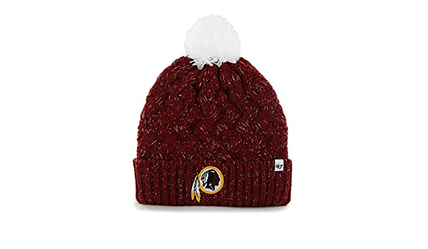 6901972b1 Amazon.com   NFL Women s Washington Redskins Embroidered Fiona Cuff Knit Hat  with Pom by  47   Sports   Outdoors