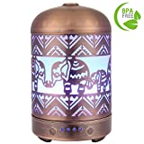 COOSA Metal Elephant Pattern 100ml Ultrasonic Aromatherapy Essential Oil Diffuser Cool Mist Humidifier with 4 Time Setting and 7 LED Lights for Home and Office (Copper)