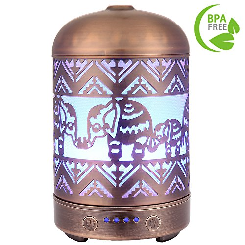 COOSA Metal Elephant Pattern 100ml Ultrasonic Aromatherapy Essential Oil Diffuser Waterless Auto Shut-off Aroma Diffuser Cool Mist Humidifier with 7 Color LED Lights for Home Office Baby Room Spa Yoga