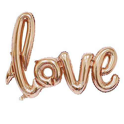 - MOCOO 32 Inch Love Balloon Banner (2pcs) Romantic Wedding Bridal Shower Anniversary Engagement Party Decoration Vow Renewal Champagne Pink Balloon NU010C