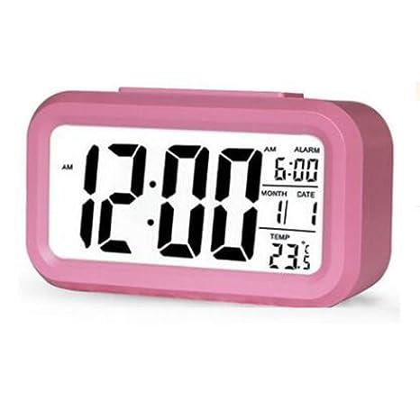 LCD Reloj De Alarma Digital, Luz Sensor Lámpara Nocturna Reloj De Estudiante Reloj Estudiantil Pantalla
