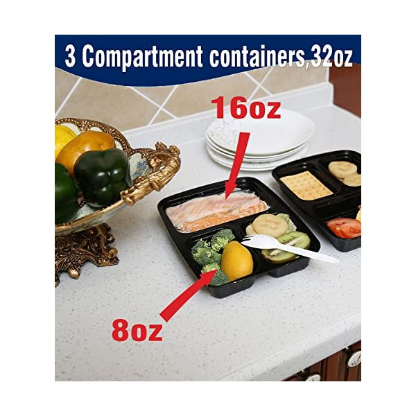 Meal Prep Containers Compartment Food Prep Containers Bento Box BPA-Free Food Storage Containers with Lids-Reusable Meal Prep Containers (Black 20-3) 51oVNDq 2BcQL