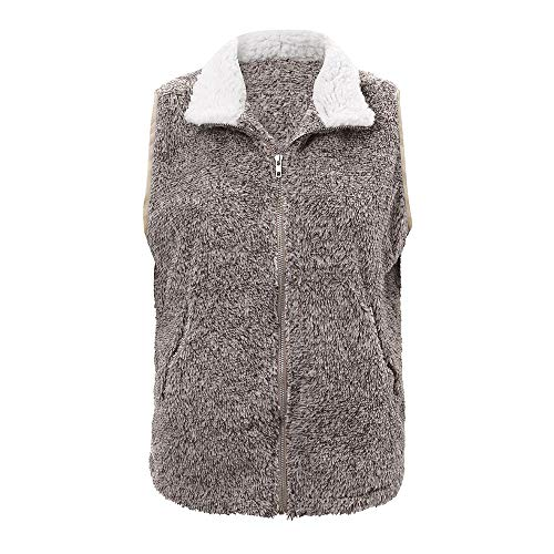 URIBAKE Fashion Women's Waistcoat Winter Warm Casual VestFaux Fur Zip Up Sleevele Jacket Outerwear -