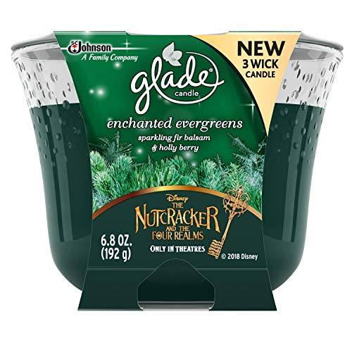 Glade 3 Wick Candle Air Freshener, Enchanted Evergreens, 6.8 Ounce (Pack of 3)
