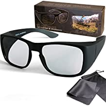 "3D Overglasses - Passive Circular Polarized 3D Movie & TV Glasses for Real3D - Fits over your prescription glasses - For RealD Cinema use and passive 3D TVs such as LG ""Cinema 3D"", Philips ""Easy 3D"", and more 3DTVs from Sony, Toshiba, Panasonic, Grundig, Hisense, CMX - With Microfiber Pouch and Cleaning Cloth"