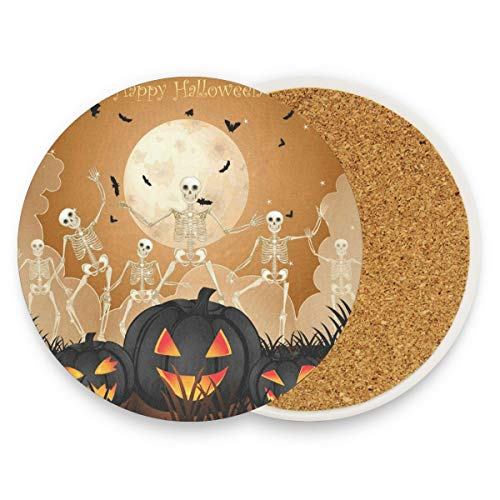 Halloween Pattern Pumpkin Coasters, Protect Your Furniture From Stains,Coffee, Drink Coasters Funny Housewarming Gift,Round Cup Mat Pad For Home, Kitchen Or Bar Set Of 4]()