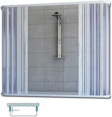 Mampara de ducha para bañera con anillo, PVC, 140 x 70 x 70 x 100 ...
