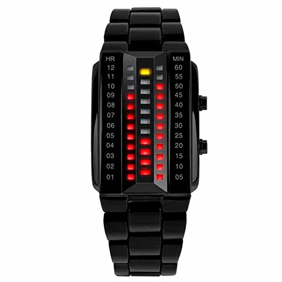 tonshen Matriz binario LED Reloj Digital de hombre Fashion Creative negro pulsera muñeca relojes: Amazon.es: Relojes