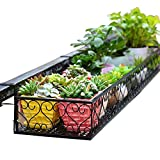 MS Flower Stand - Wrought Iron Hanging Basket Railing Window Flower Shelf Metal Succulents Rack Balcony Outdoor Black, 6 Sizes #