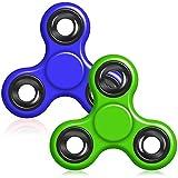 Hand Fidget Spinner, YuCool 2 Packs Tri-Spinner EDC Finger Fidget Toy Stress Reducer Rotate for 1.5+mins- Dark Blue,Green