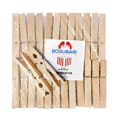 Bosubari Wooden Clothes Pins – 50 PCS – Heaviest Duty 2.8 Inch Large Natural Hard Wooden Decorative Clothespins – Ideal for Line Drying, Hanging Arts & Crafts, Securing Messy Cords & Emergency Fixes
