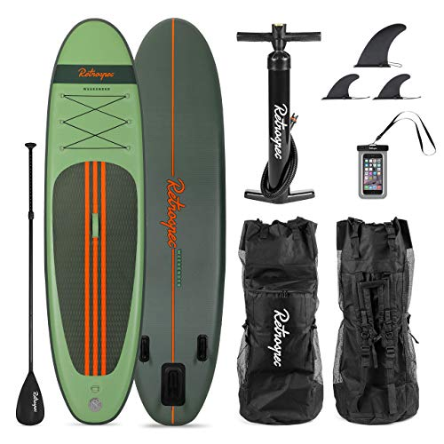 Retrospec Weekender 10ft Inflatable Stand Up Paddleboard Triple Layer PVC iSUP Bundle with Paddle Board Carrying Case, Aluminum Paddle, Removable Nylon Fins, Manual Pump, Cell Phone Case (Renewed)