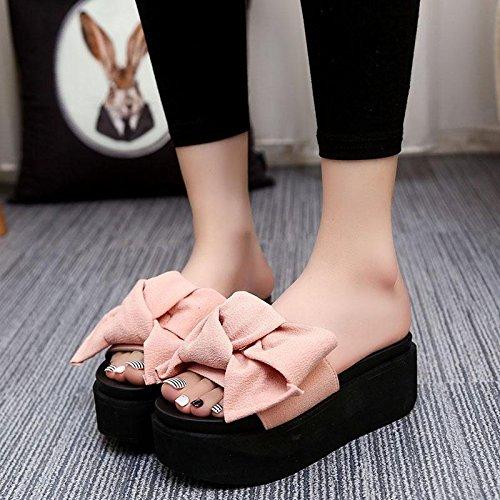 chaussures Bowknot Chaussures LvYuan décontractées épais étanche d'été de Pantoufles Fond compensé femmes plage pink sandales Talon talon plateforme haut pour confortables 1IxqTZwIr