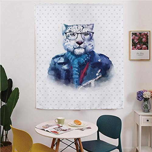 Quirky Decor Blackout Window curtain,Free Punching Magic Stickers Curtain,Portrait of Serious Looking Leopard Male Jungle Animal with Jacket Watercolors Decorative,for Living Room,study, kitchen, dorm