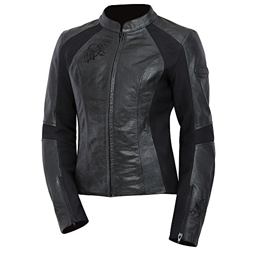 BILT Women's Grace Leather Motorcycle Jacket - XL, - Black Jacket Motorcycle Contour