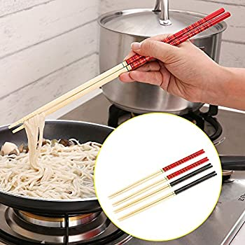 Dealglad® 5 Pairs Kitchen Bamboo Hot Pot Noodles Cooking Non Slip Chopsticks Tableware Dinnerware 13 Inch