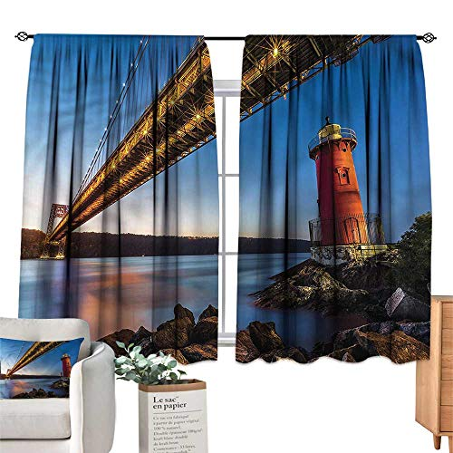 (WinfreyDecor United States Exclusive Home CurtainsBridge Hudson River Set of Two Panels 55