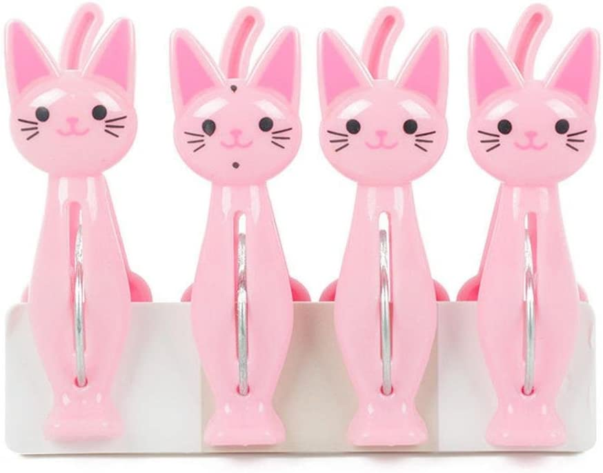 Pink CHIC*MALL 4Pcs Clothespins Cartoon Cat Pattern Clothes Pins Laundry Hangers Pegs Clamps Photo Bag Towel Clips