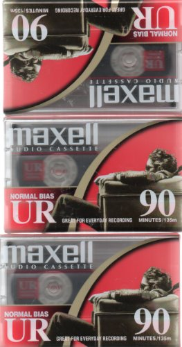 Maxell Audio Cassette, Normal Bias UR 90 Minutes (Pack of 3)