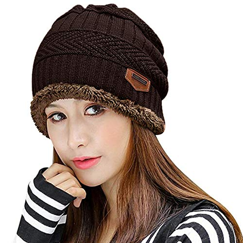 Muryobao Thick Warm Winter Beanie Hat Slouchy Skully Knit Hats Soft Stretch Ribbed Cap for Women Snow Ski Brown