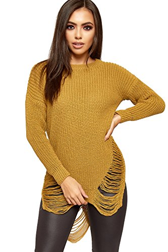 Knitted Jumper Dress - WEARALL Women's Cable Knitted Ripped Distressed Long Sleeve Ladies Mini Jumper Dress - Mustard - US 8-10 (UK 12-14)