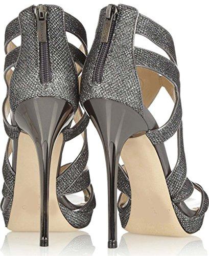 Peep Zapatos Señoras Paseo Alto Sandalias Estilete Silver Noche Toe Nvxie Sexy Talones Fiesta Mujer q7A75X