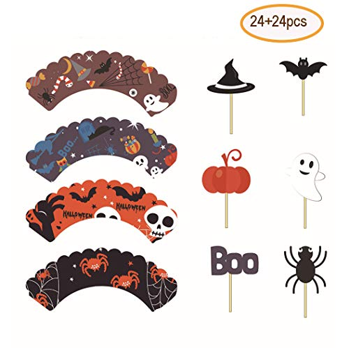 Fashionclubs Halloween Cupcake Wrappers Toppers Set, 24pcs Halloween Cupcake Wraps Liners + 24pcs Halloween Cupcake Picks Food Picks,Halloween Party Favor Supplies Cake Decoration