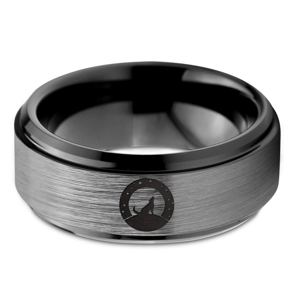 Polished Yellow Grey Brushed Black Hunter Fenrir Viking Nordic Celtic Howling Wolf Ring Gift Blue Tungsten Band 8mm Wedding Men Women 18k Rose Gold Step Bevel Edge