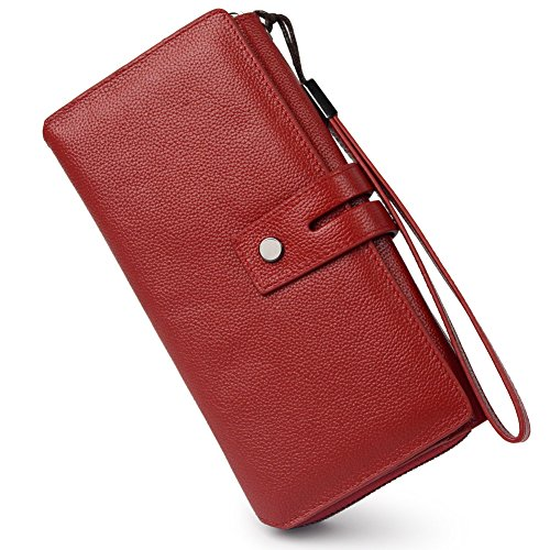 Women RFID Blocking Real Leather Trifold Wallet Long Clutch Purse with Wrist Strap (Wine Red) (Red Tri Fold)