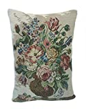 Corona Decor French Woven Flower Theme Decorative Pillow, Blue/Green
