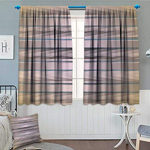 alilihome Modern Patterned Drape for Glass Door Earth Toned Fractured Zig Zag Dimensions Horizontal Lines Flat Type Artwork Print Waterproof Window Curtain 55