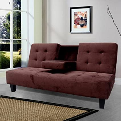 Amazon.com: Convertible Couch Futon Sleeper with Cup Holder ...