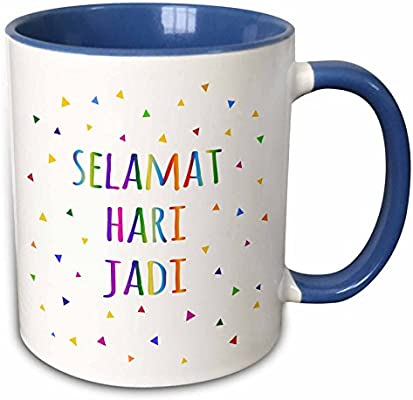 amazoncom 3drose inspirationzstore many different languages selamat hari jadi happy birthday in malay colorful rainbow text 11oz two tone blue mug