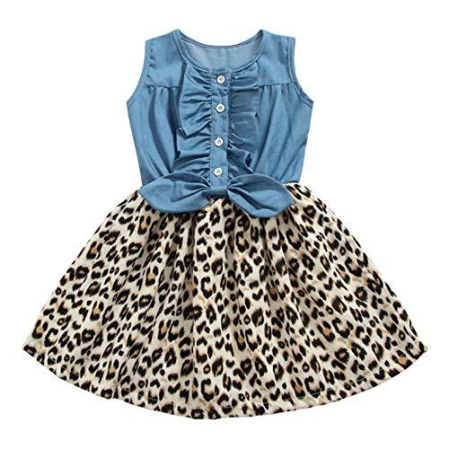 Girls Dress, Princess Dresses Sleeveless Denim Tops Floral Tutu Skirts (5-6 Years, Leopard)