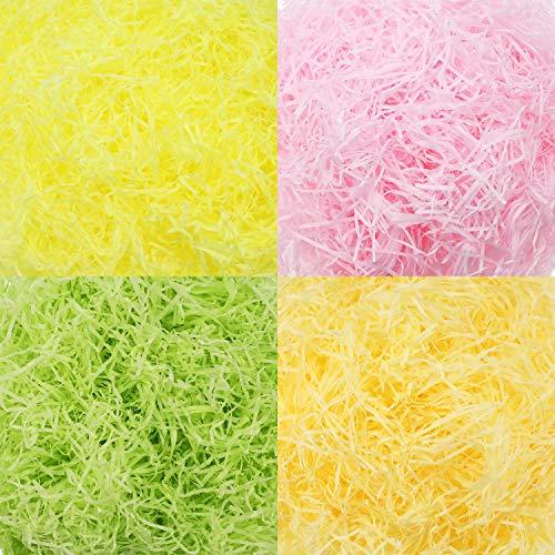 Blulu 320 g 11.3 oz Multicolor Easter Basket Shred Paper Raffia Tissue Paper Grass Stuffers Shredded Crinkle Paper for Gift Box Filling (Color Set 3) ()
