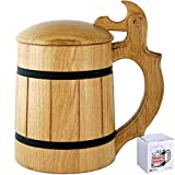 Wooden Beer Mug Lid Men. Craft IPA Beer Drinking Cup. Pint Wood Stein. Viking Ale Mead Dad Tankard Handle. Funny Fathers Day Tumbler, Birthday Anniversary Gifts. Cute Man Cave Decor, Party Accessories