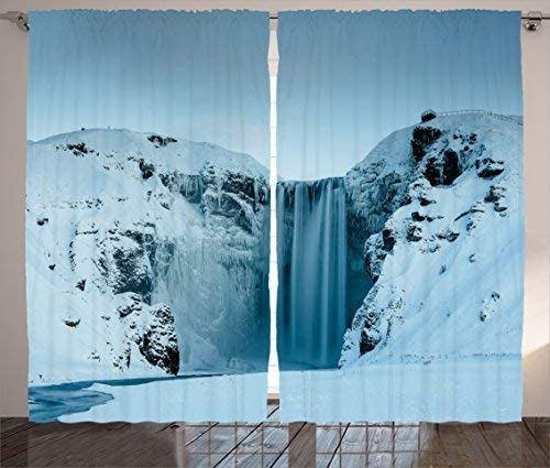 Red Vow Waterfall Decor Curtains, Frozen Waterfall Heavenly Landscape View with Mountains Covered with Snow Photo, Curtain for Bedroom Dining Living Room 2 Panel Set, 104 W by 96 L,Petrol Blue