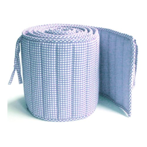 Bumper Coverlet - Tadpoles Classics Gingham Crib Bumper, Blue