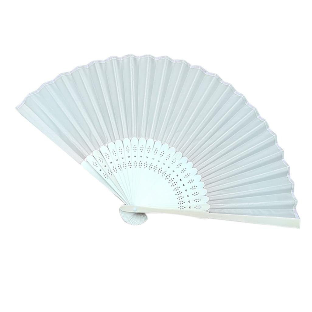 Sonmer Chinese Style Hand Held Fan, Bamboo Silk Folding Fan, for Party Wedding Decor (Light Blue)
