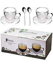 Feelino 2 x 80 ml filiżanki do espresso z podwójnymi ściankami + 2 łyżeczki do espresso ze stali nierdzewnej, z uchwytem i podstawką, nowoczesne i ponadczasowe wzornictwo w świetnym opakowaniu, by