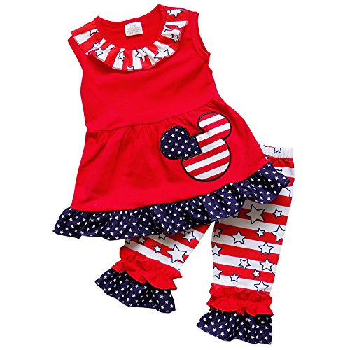 So Sydney Girls Toddler Patriotic USA 4th of July Capri Tunic Top Ruffle Outfit (XS (2T), Mouse Stars & (Minnie Outfit)