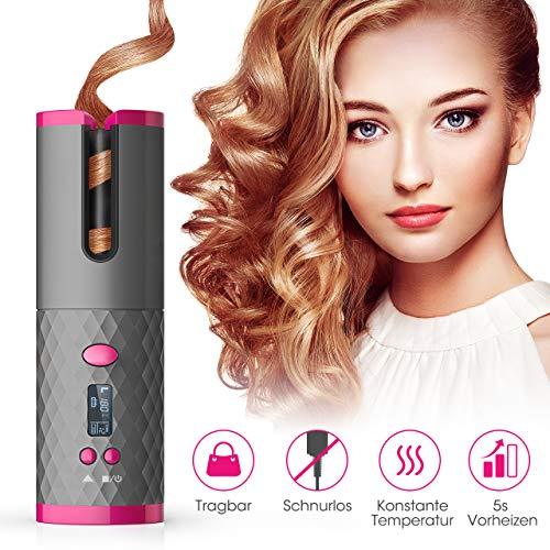 Rizador de pelo de diseno automatico inalambrico, con forma de onda giratoria, portatil, con bateria, regulador de temperatura, de ceramica, para plantas, revestimiento de proteina