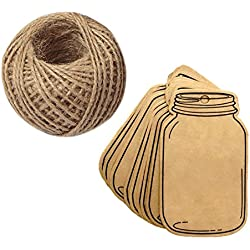 100PCS Vintage Style Mason Jar Shaped Tags,Brown Kraft Paper Gift Tags with 100 Feet Natural Jute Twine for DIY and Craft, Canning Jars and Party Favors