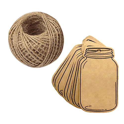 100PCS Vintage Style Mason Jar Shaped Tags,Brown Kraft Paper Gift Tags with 100 Feet Natural Jute Twine for DIY and Craft, Canning Jars and Party Favors G2PLUS 4336878890