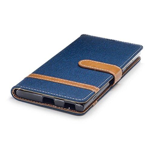 Con Supporto Xa1 Sony Portafoglio Caso Plus Scuro Blu Custodia Cover Rosa Pelle Meeter Premium Plus Per Xperia Flip In wvqp4g